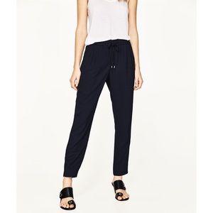 Zara Drawstring Trousers in Black LIKE NEW XS